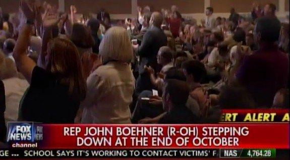 VIDEO=> CONSERVATIVES CHEER Boehner's Resignation
